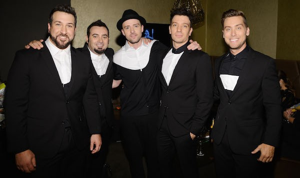 Lance Bass, Justin Timberlake, JC Chasez, Chris Kirkpatrick e Joey Fatone - os membros do *NSYNC em 2013 (Foto: Getty Images)