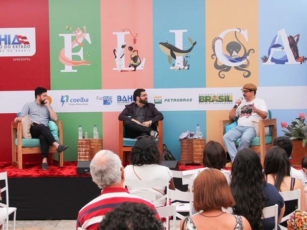 Flica na quinta-feira (15), 15h: Mesa 'O superficial da profundidade' Autores: João Paulo Cuenca e Lima Trindade Mediador: Cristiano Ramos (Foto: Egi Santana/Flica)