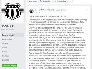 Informação foi divulgada pela direção do clube em uma página de rede social (Foto: Social/Reprodução)