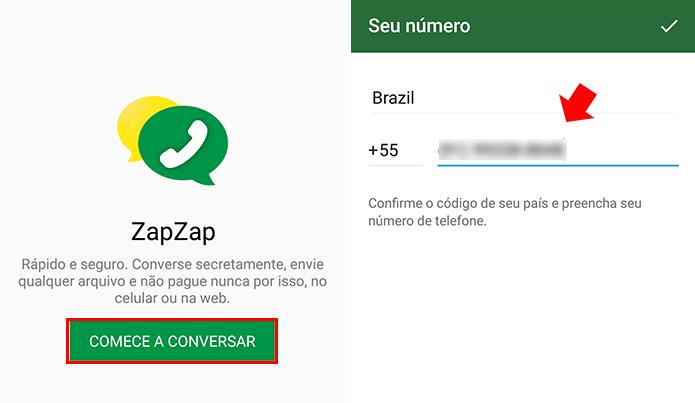 Faça login com seu número de telefone (Foto: Reprodução/Paulo Alves)