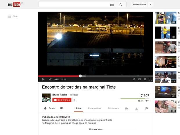 Vídeo mostra briga de torcidas na Marginal Tietê (Foto  reprodução ... 06a9c4d689724