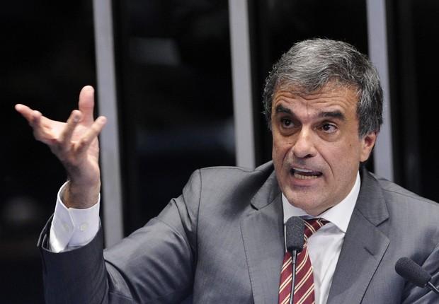 O advogado de defesa de Dilma Rousseff, José Eduardo Cardozo, durante sua fala no Senado (Foto: Edilson Rodrigues/Agência Senado)