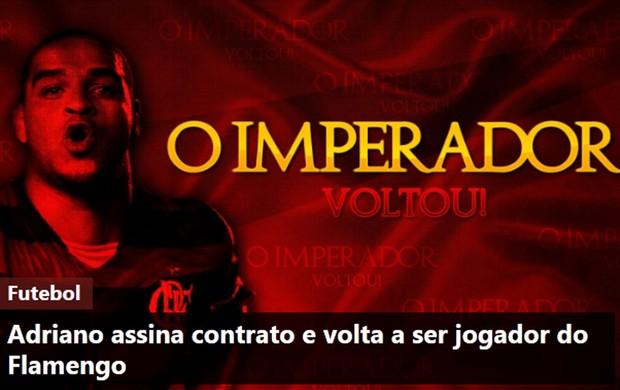 Frame, site do Flamengo, Adriano (Foto: Reprodução / Site oficial do Flamengo)