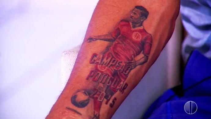 RN - Thiago Potiguar - atacante - América-RN - tatuagem (Foto: Reprodução/Inter TV Cabugi)