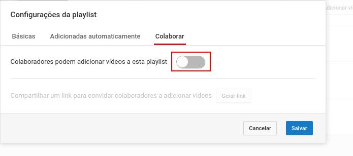 Ativando a permissão para colaboradores adicionarem vídeo na playlist (Foto: Reprodução/Edivaldo Brito)