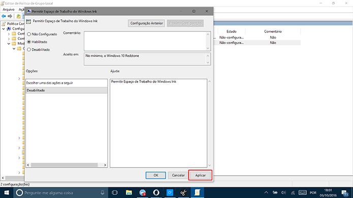Clique em aplicar para finalizar a configurações do Windows Ink (Foto: Reprodução/Elson de Souza)