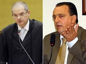 O advogado José Antonio Duarte Álvares, durante a defesa de Pedro Henry no STF (esq.) e o deputado (dir.) (Foto: Reprodução)
