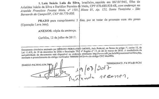 Lula é intimado sobre sentença do Juiz Sergio Moro (Foto: Reprodução)