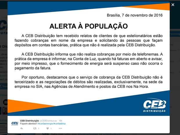 Em uma rede social, a CEB alertou os clientes sobre os casos de trote ocorridos no Distrito Federal (Foto: Twitter/Divulgação)