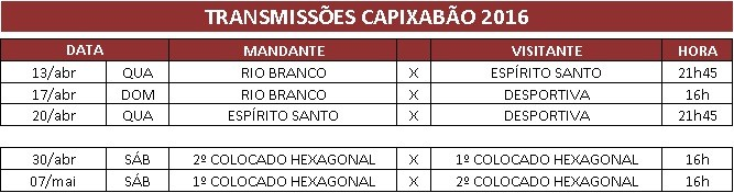 Tabela dos jogos que serão transmitidos pela TV Gazeta (Foto: Divulgação/ TV Gazeta)