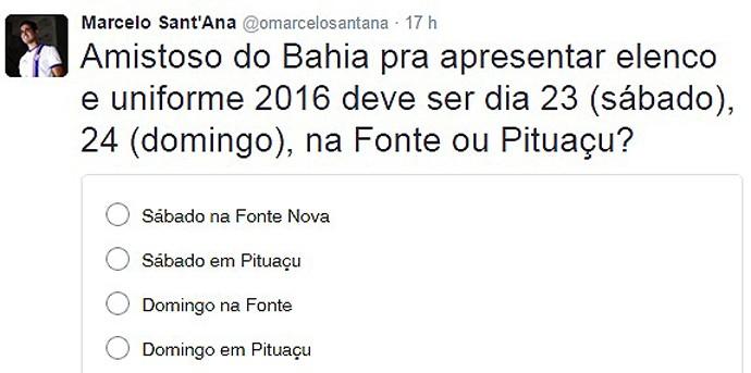 Marcelo Sant'Ana; Twitter; Bahia (Foto: Reprodução)