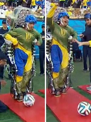 Exoesqueleto, copa, abertura, cerimônia, Nicolelis (Foto: Reprodução/TV Globo)