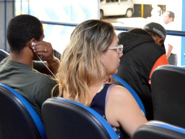 Beneficiária do INSS em agência de Campinas (Foto: Priscilla Geremias/ G1)