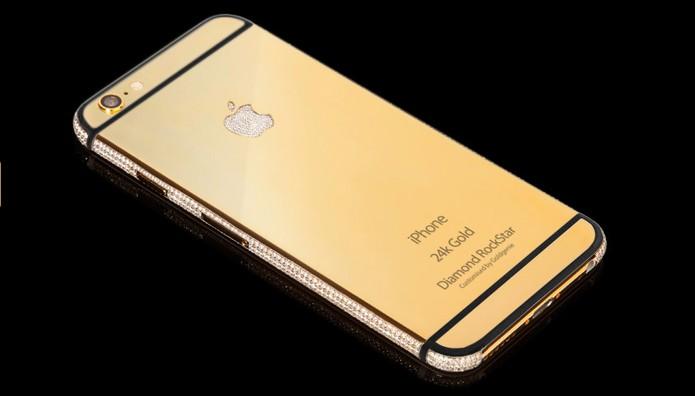 Modelo RockStar é o mais top, com 128 GB de armazenamento e diamantes (Foto: Divulgação/Goldgenie)