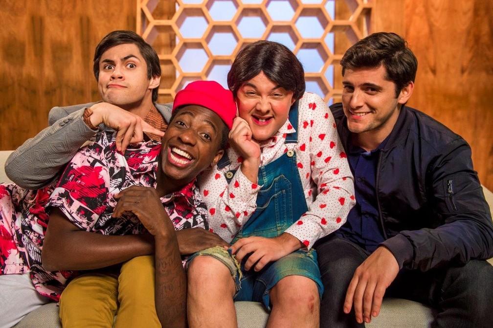 'Os Trapalhões': foto mostra novo elenco com Bruno Gissoni, Mumuzinho, Gui Santana e Lucas Veloso (Foto: Divulgação/TV Globo)