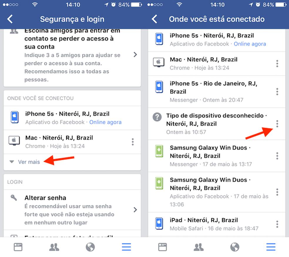 Caminho para visualizar opções para um dispositivo conectado ao Facebook (Foto: Reprodução/Marvin Costa)