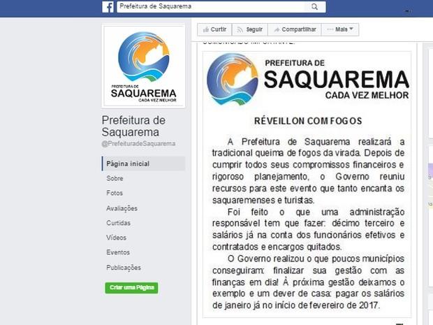 Anúncio foi feito na rede social da Prefeitura de Saquarema (Foto: Reprodução/Facebook)