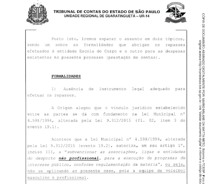 parecer TCE São José Basquete (Foto: TCE)