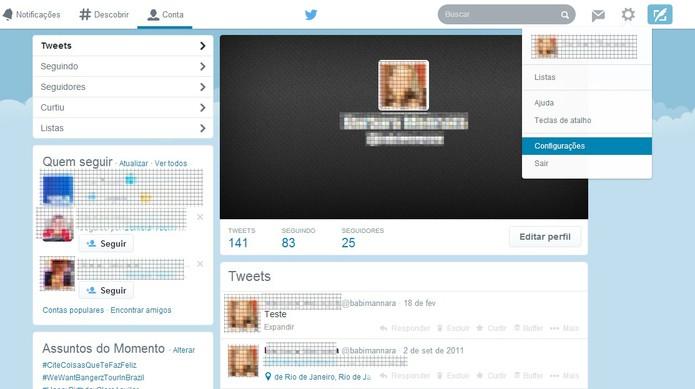Acesse as configurações da conta do Twitter (Foto: Reprodução/Barbara Mannara)