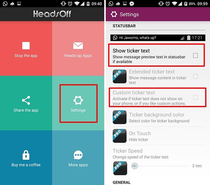 Acesse as configurações de HeadsOff para modificar as notificações do Android (Foto: Reprodução/Elson de Souza)