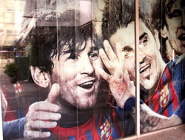 Messi painel especial Barcelona (Foto: Cahê Mota / Globoesporte.com)