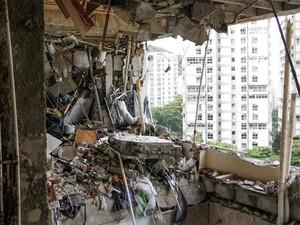 Apartamento onde houve explosão em São Conrado ficou destruído (Foto: Tarso Ghelli/ Prefeitura)