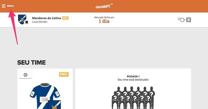 Abra o menu do Cartola FC (Foto  Reprodução Lucas Mendes) 13c707ea7f3e8