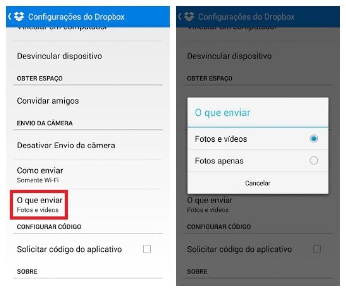 Opções de arquivos que devem ser sincronizados automaticamente com o Dropbox (Foto: Reprodução/Lívia Dâmaso)