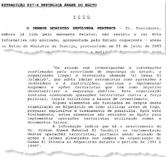 Documento do STF com o pedido de extradição de Hesham Eltrabily, feito pelo Egito, negado, (Foto: Reprodução)
