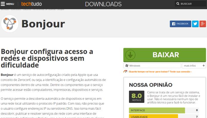 Baixando o Bonjour no TechTudo Downloads (Foto: Reprodução/Edivaldo Brito)