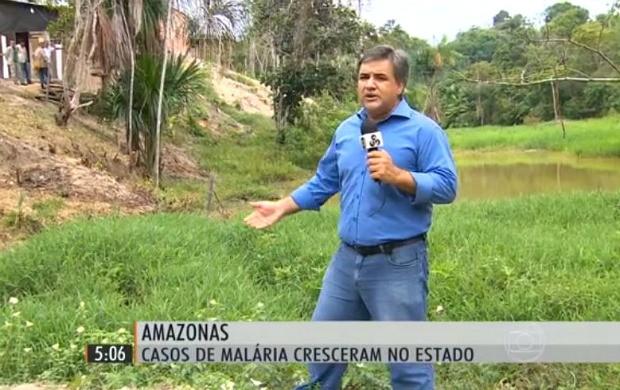 Repórter Vandré Fonseca, da Rede Amazônica, no Hora 1 (Foto: Reprodução/Hora 1)