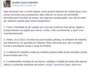Geraldo Castro Sobrinho, marido da juíza Larissa Tupinambá, fala sobre o ocorrido. (Foto: Reprodução)