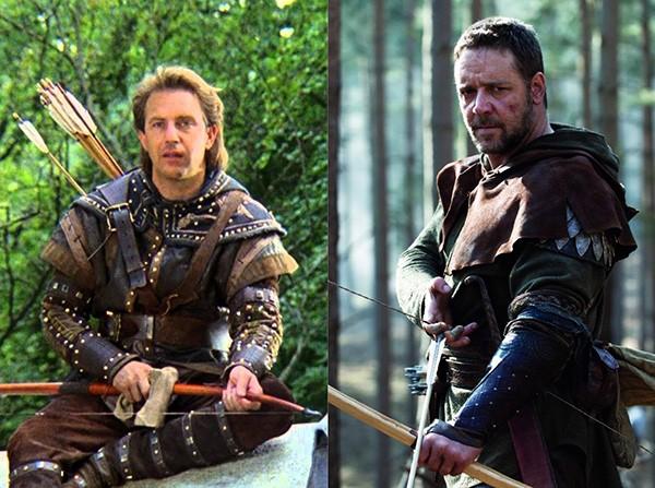 Kevin Costner em Robin Hood: O Príncipe dos Ladrões (1991), Russell Crowe em Robin Hood (2010) (Foto: Divulgação)
