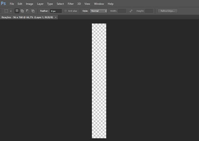 Crie um documento com fundo transparente, com 96 por 768 pixels (Foto: Reprodução/Paulo Alves)