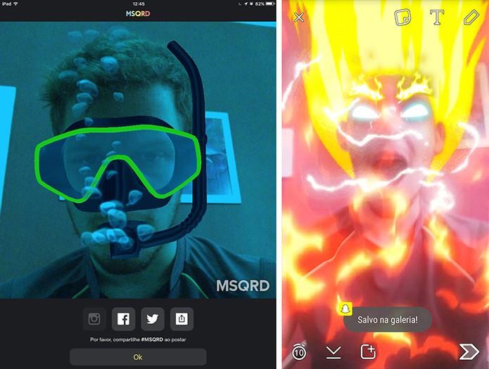 MSQRD tem mais opções de compartilhamento do que Snapchat (Foto: Reprodução/Elson de Souza)
