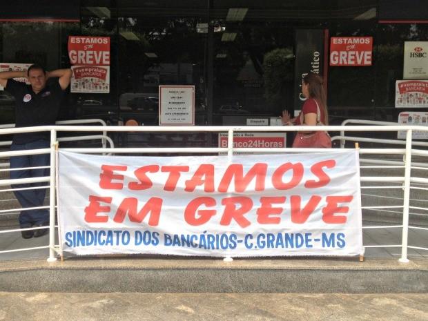 Greve completa 12 dias e bancos seguem fechados em MS (Foto: Tatiane Queiroz/ G1 MS)