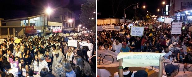 À direita, manifestação segue pela Avenida Rio Branco. À esquerda, multidão senta na rua e grita por mais educação, saúde e menos corrupção (Foto: Samantha Silva / G1)