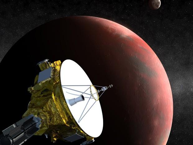 Concepção artísitca da espaçonave New Horizons, atualmente em rota rumo a Plutão, é mostrada nesta imagem divulgada pela Nasa (Foto: Reuters/Science@NASA)
