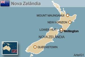 mapa nova zelândia (Foto: Arte/G1)