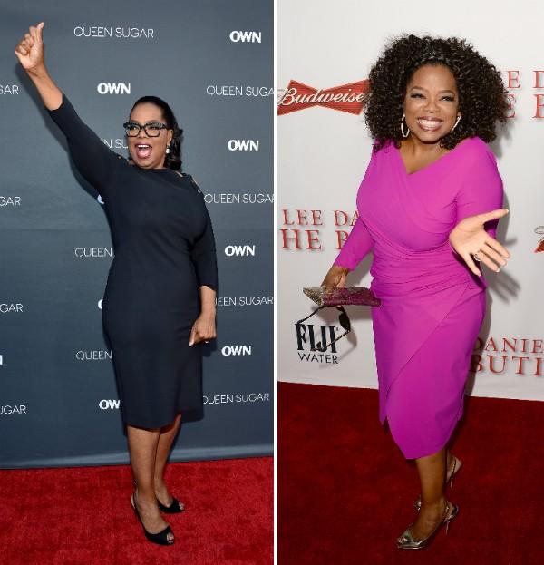 A celebridade Oprah Winfrey recentemente e em foto de 2012 (Foto: Getty Images)