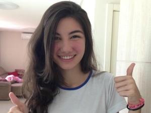 Aluna ficou surpresa com o resultado obtido nas provas do Ifes, no Espírito Santo (Foto: Brunella Lacerda / VC no ESTV)