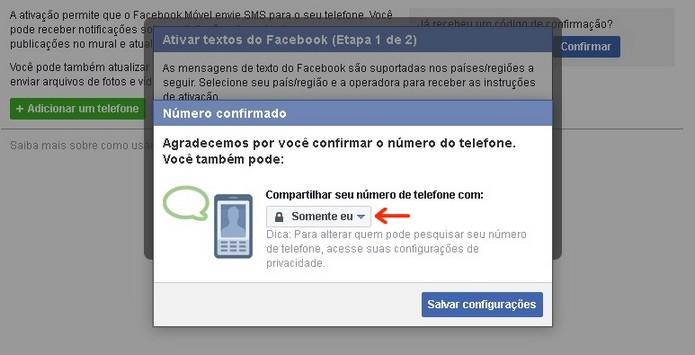 Conclusão da adição de celular ao Facebook (Foto: Reprodução/Raquel Freire)