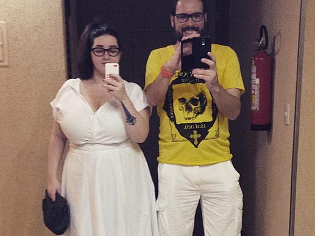A jornalista Bruna Presmic e o marido no réveillon de 2014 (Foto: Bruna Presmic/Arquivo Pessoal)