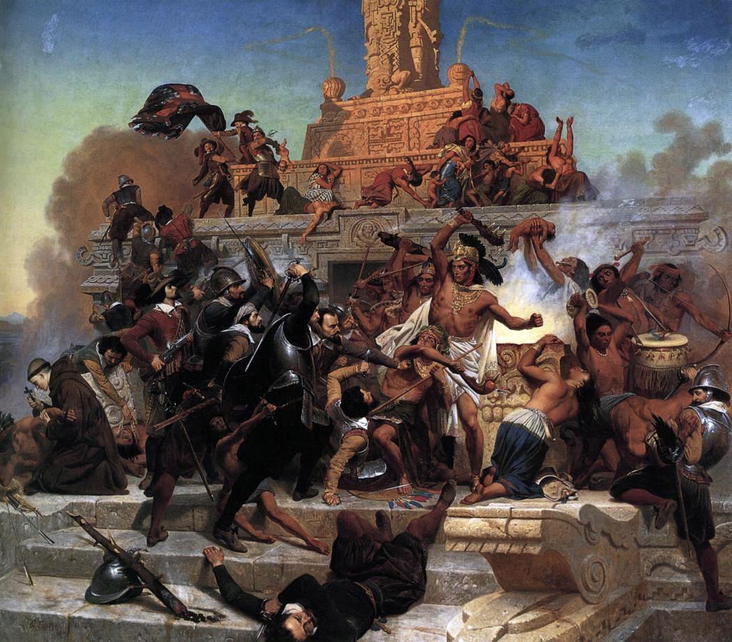 Pintura retrata a batalha pela cidade de Tenochtitlán, atual Cidade do México (Foto: Reprodução)