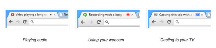 Novas abas do Google Chrome sinalizam tipo de conteúdo em reprodução (Foto: Divulgação/Google)