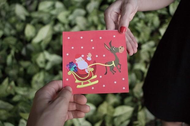 Nos cartões de Natal da Cachalote, trenó do Papai Noel é puxado por jegues  (Foto: Divulgação)