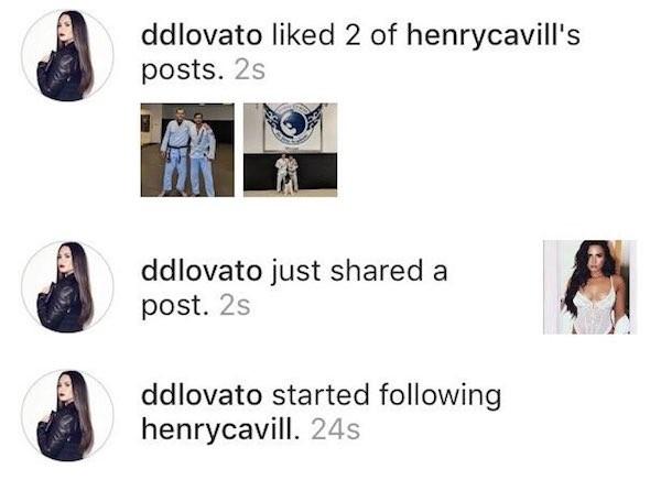 O flagrante das ações de Demi Lovato para chamar atenção de Henry Cavill (Foto: Instagram)
