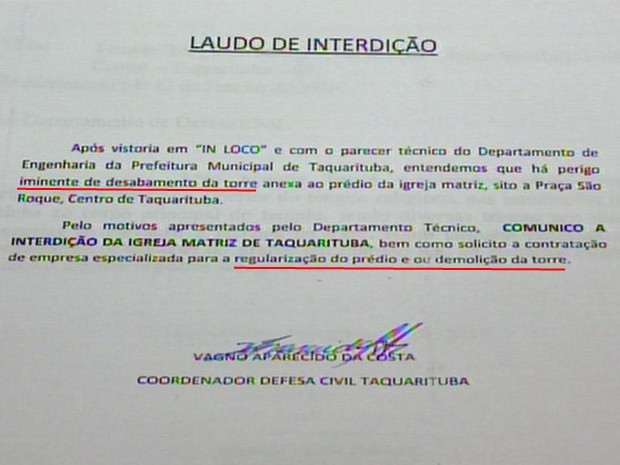 Laudo da Defesa Civil apontou necessidade de demolição da torre (Foto: Reprodução/ TV TEM)