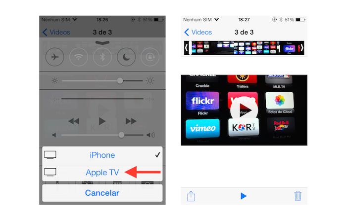 Definindo a Apple TV como o dispositivo que irá transmitir um conteúdo do iOS (Foto: Reprodução/Marvin Costa)