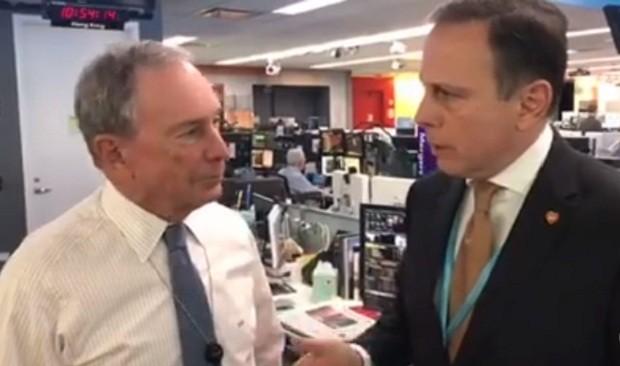 O ex-prefeito de Nova York, Michael Bloomberg, e o prefeito de São Paulo, João Doria (Foto: Reprodução/Facebook)